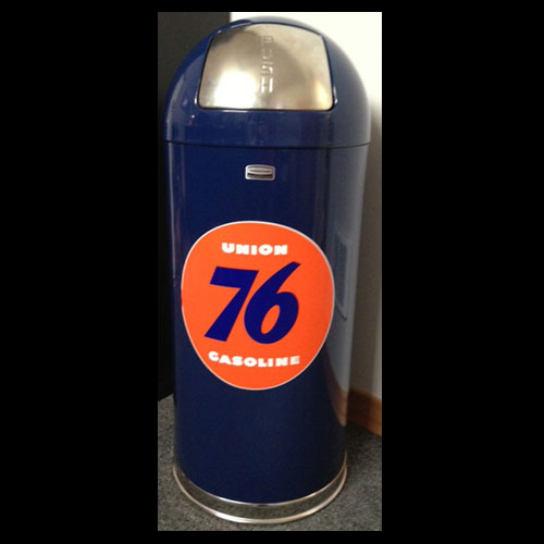 Blue Retro Style Trash Can - Union 76 Gasoline