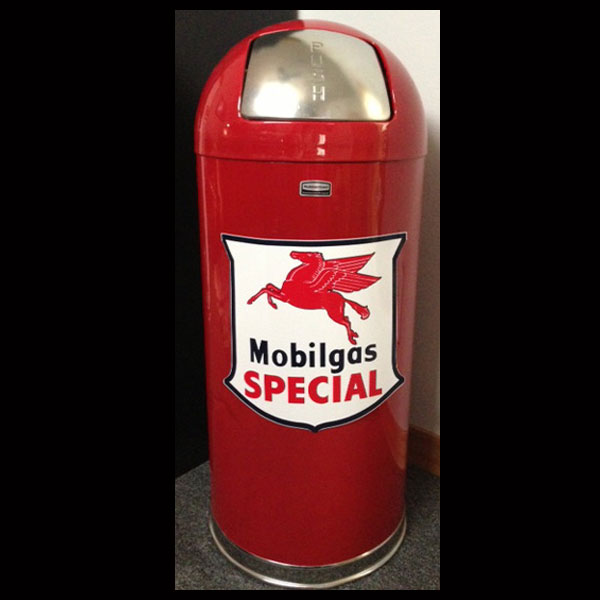 Mobil Gas Special Retro Trash Can