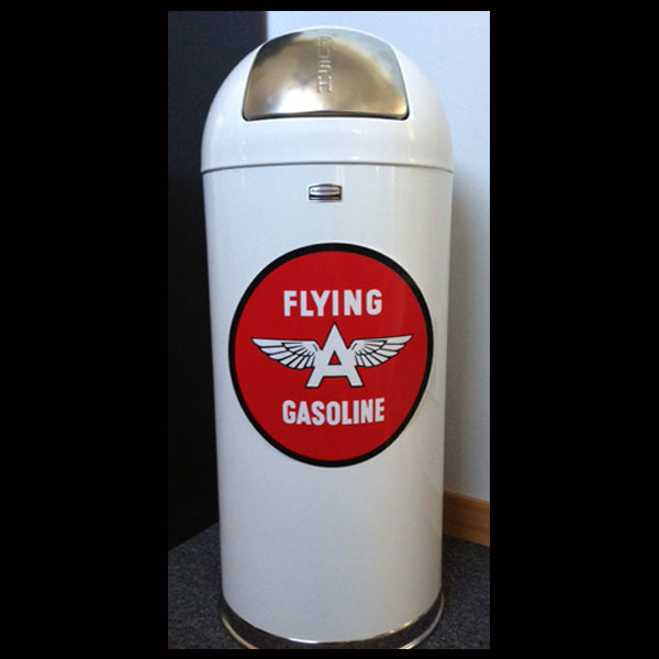 Flying A Gasoline Retro Style Trash Can
