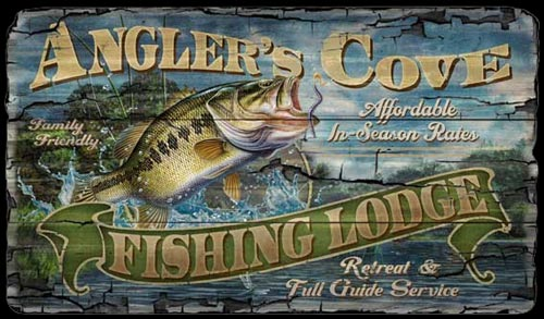 Angler 39 s cove fishing lodge wood sign fishing signs for Vintage fishing signs