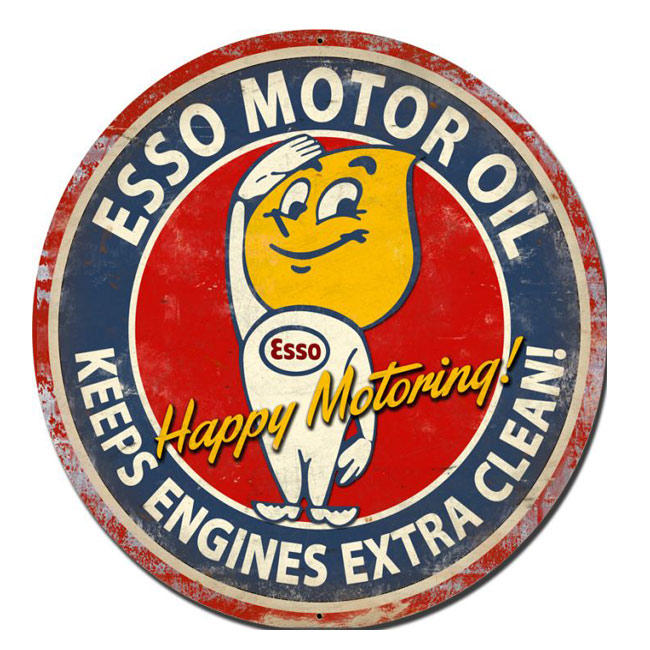 Esso Motor Oil Happy Motoring Vintage Sign
