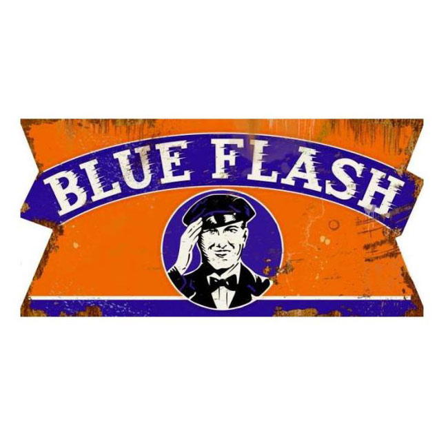 Blue Flash Gas Attendant Sign