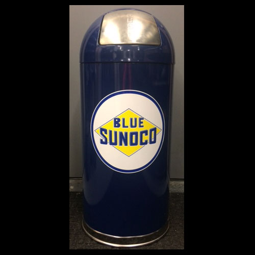 Blue Sunoco Retro Trash Can