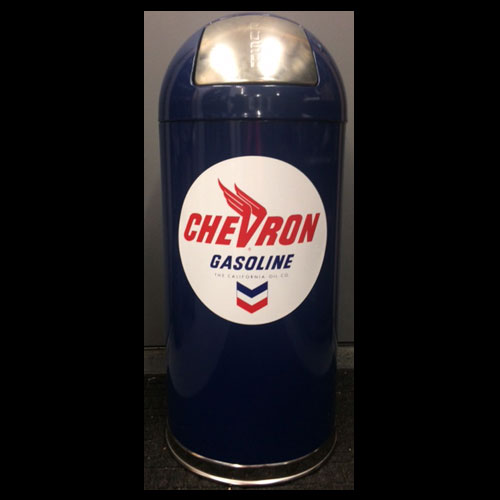 Chevron Gasoline Retro Trash Can